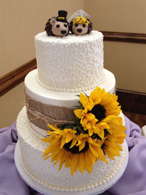 country style cake toppers sunflower country cake with hedgehog toppers blondie s