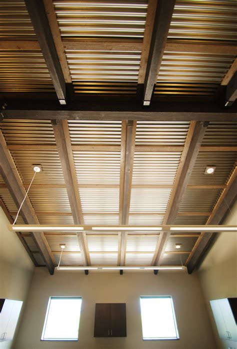 Corrugated Tin Ceiling by Corrugated Ceiling In Office Metal Accents