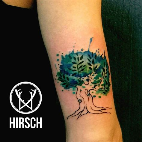 watercolor tattoo trento tree watercolor eliseo franchini artist