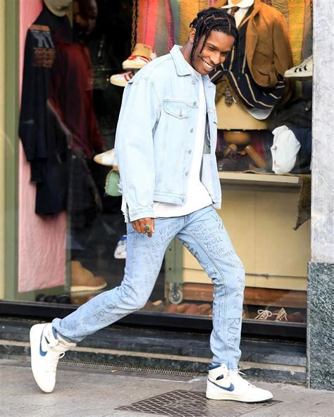 asap rocky wears guess jacket gucci and air sneakers in italy upscalehype