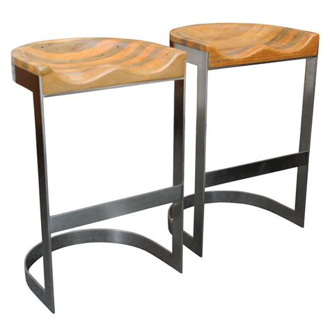 Saddle Seat Bar Stools by Wood Saddle Seat Warren Bacon Bar Stools At 1stdibs