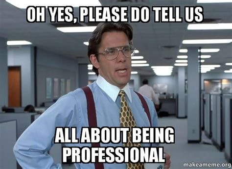 Professional Meme - oh yes please do tell us all about being professional