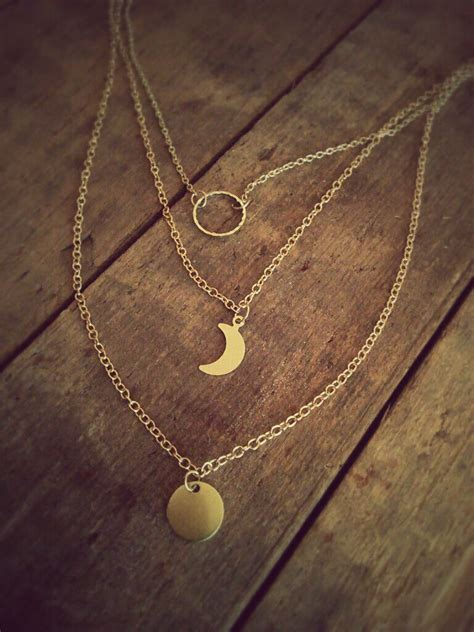 lunar cycle necklace moon phase layer gold moon necklace