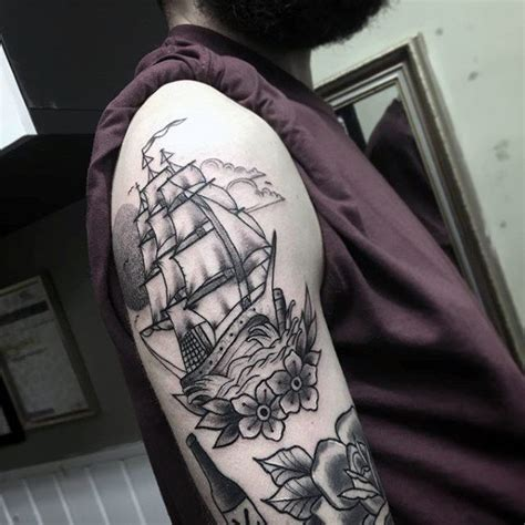 ship tattoo black and grey 60 traditional ship tattoo designs for men nautical ink