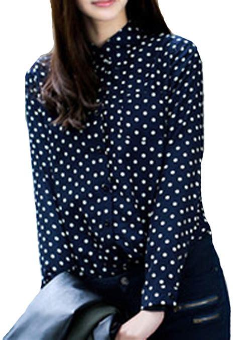 Blouse Polka navy blue polka dot sleeve chiffon blouse blouses