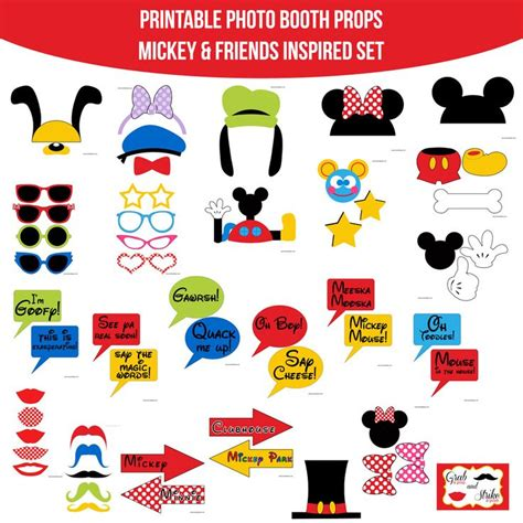 disney photo booth props printable pdf instant download mickey mouse and friends inspired mickey