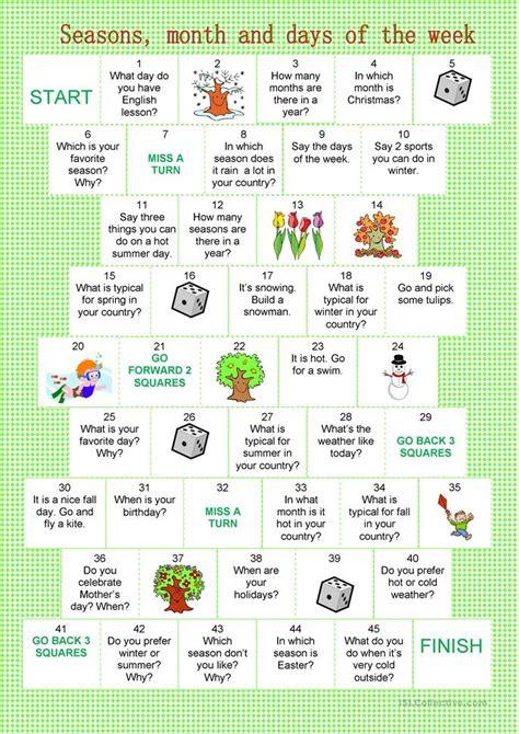 Printable Board Games Days Of The Week | board game month seasons days of the week worksheet