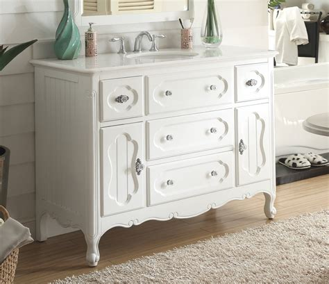 White Cottage Bathroom Vanity Adelina 48 Inch Antique Cottage Bathroom Vanity White Finish White Marble Top