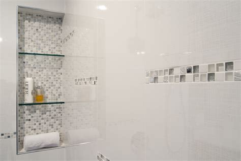 Ideas for planning the recessed shower shelf med art home design posters