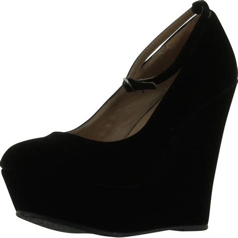 black wedge shoes black faux suede toe ankle cover platform