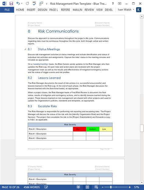 risk management plan template risk management plan template