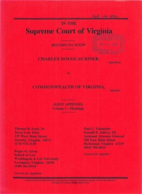 Wa Court Records Virginia Supreme Court Records Volume 268 Virginia Supreme Court Records