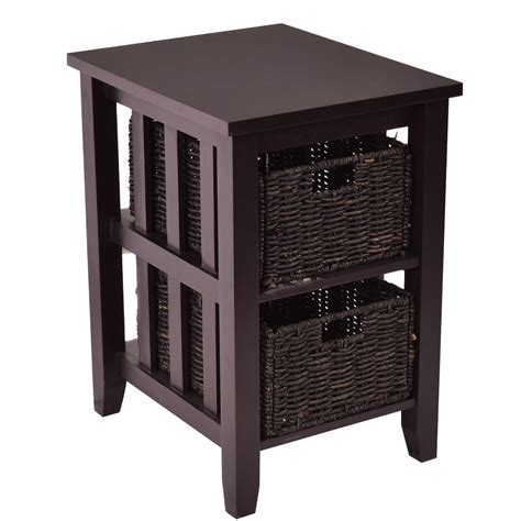 accent table with baskets wooden sofa end side table with 2 storage baskets coffee