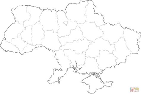 Ukraine Outline Map by Outline Map Of Ukraine With Regions Coloring Page Free Printable Coloring Pages