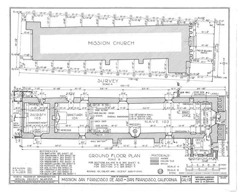 mission santa clara de asis floor plan architectural drawings california missions resource center