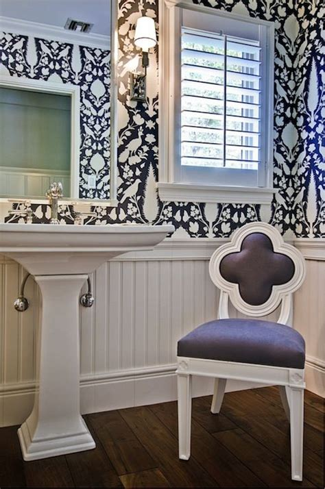 beadboard half wall gorgeous powder room with hardwood floors paired with