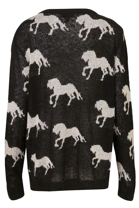 horse pattern jumper topshop knitted all over horses jumper in black lyst
