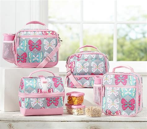 Arvita Lunch Bag Pink Butterfly mackenzie gray butterfly lunch bags pottery barn