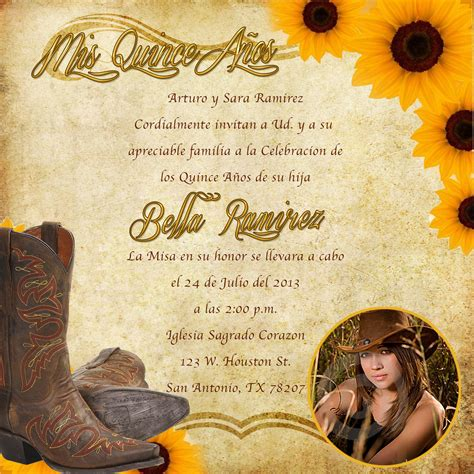 mexican themed quinceanera invitations western invitations printable western theme invitation