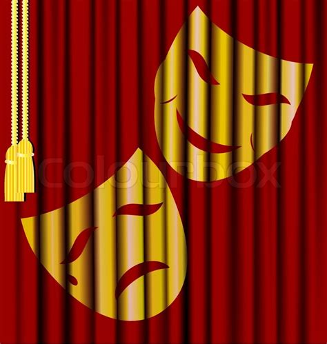 Against the background of red theater curtain theatrical masks stock vector colourbox