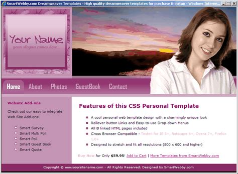 Personal Web Template Personal Website Template Html Css