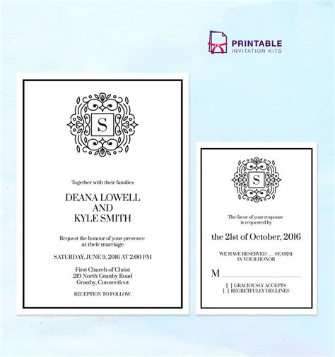 Free Pdf Stately Monogram Wedding Invitation Templates With Rsvp Free To Download And Print At Free Pdf Wedding Invitation Templates