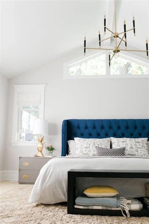 Blue White And Gold Bedroom by Emily Henderson Navy White And Gold Bedroom