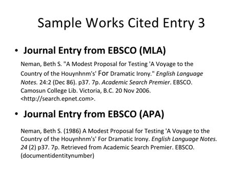 apa format journal entry works cited guidelines
