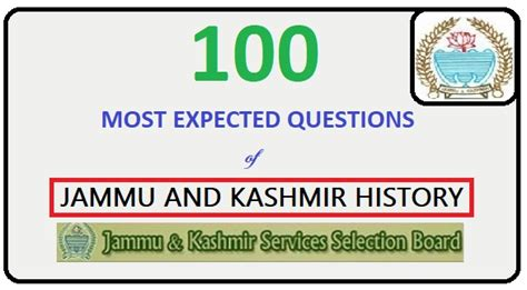 Mba In Central Of Kashmir by 100 Most Expected Questions Of Jkssb Jammu And Kashmir