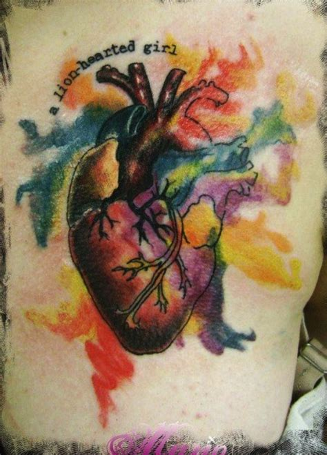lovely watercolor heart tattoo by alex pardee