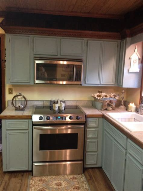 Duck Egg Blue Kitchen Cabinets Updating My Oak Cabinets To Sloan Chalk Paint Duck Egg Blue Next Step Add Beaded