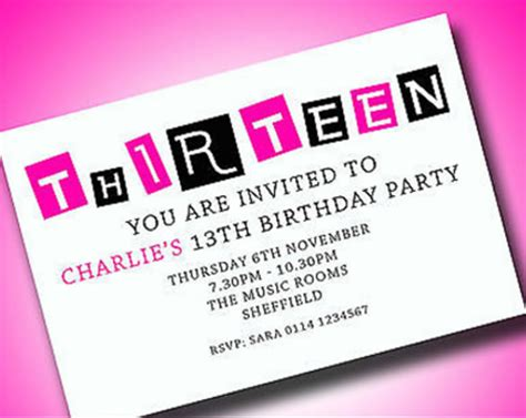 13th birthday invitation templates free personalised boys 13th birthday