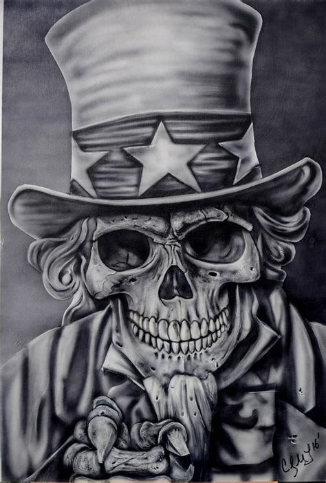 uncle sam skull painting painting by cody lebouef