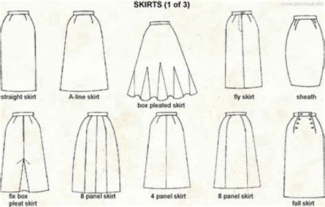 types of skirts styles for different skirts names