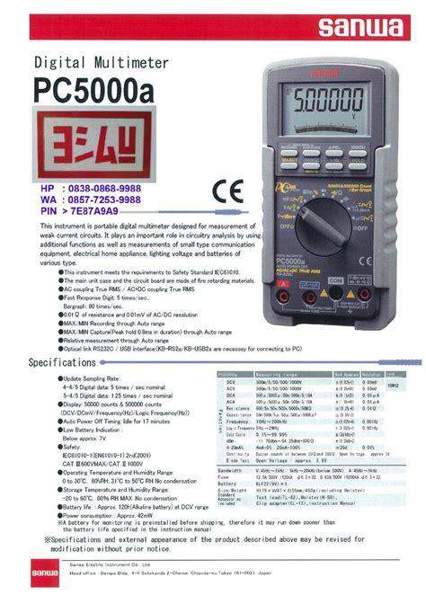 Sanwa Pc 5000 A Digital Multimeter jual sanwa digital multimeter pc5000a everything4u