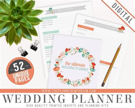 printable wedding planning kit ultimate wedding planner organizer kit instant download