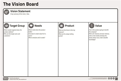 project vision template the vision board medium size paper version lean