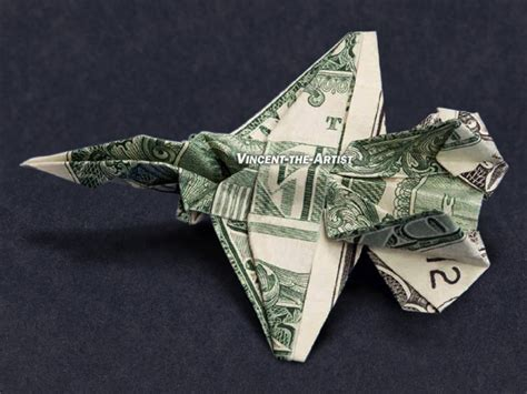 Army Origami - jet fighter money origami dollar bill vincent the artist