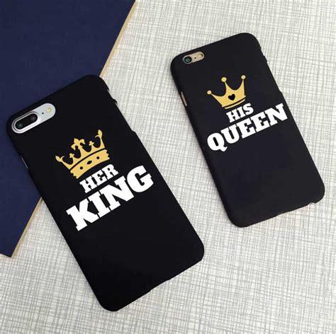 cute matching king  queen black letter case matte hard