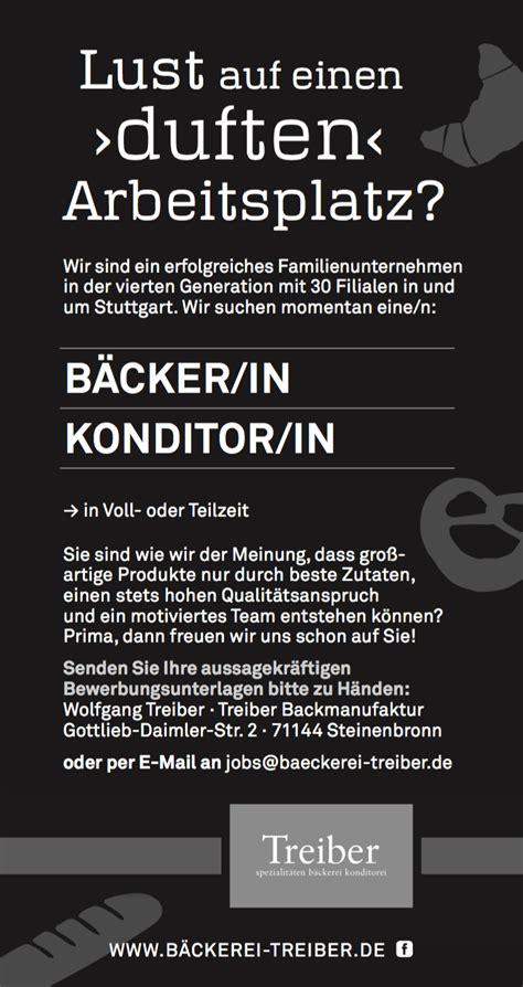 Bewerbung Backer Verkauf Treiber B 228 Ckerei Treiber
