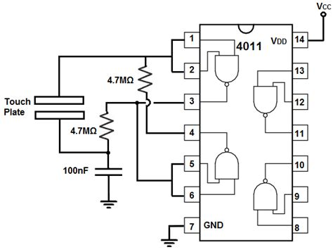 integrated logic gate circuits how to build a touch on circuit with a 4011 nand gate chip