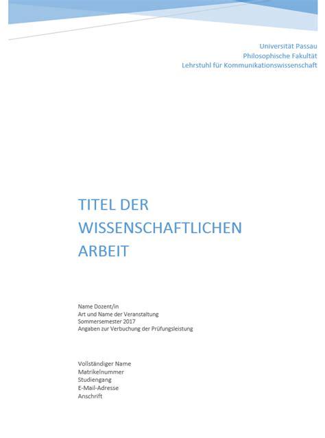 seminararbeit layout word deckblatt wissenschaftliche hausarbeit bewerbung