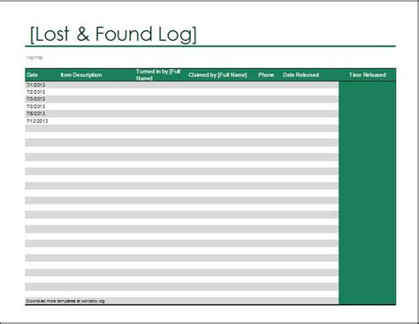 lost template lost and found log template at http worddox org