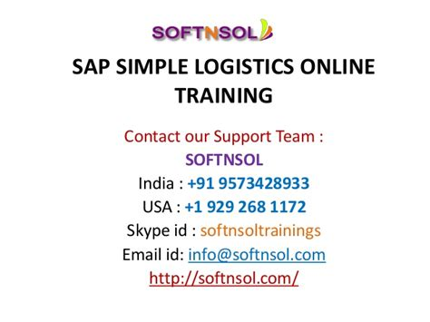 tutorial sap logistics sap simple logistics training softnsol
