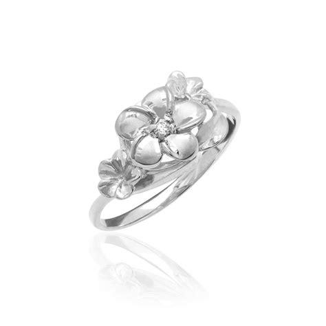 white gold plumeria three flower ring