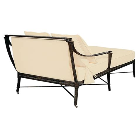 double outdoor chaise jane modern french sailcloth sand metal outdoor double