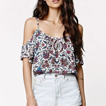 Niggy Blouse la hearts cold shoulder cropped top from pacsun