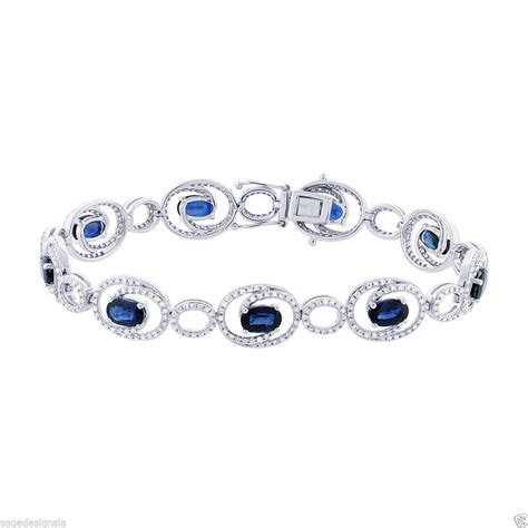 Womens 7.13 CT 14K White Gold Oval Blue Sapphire Round