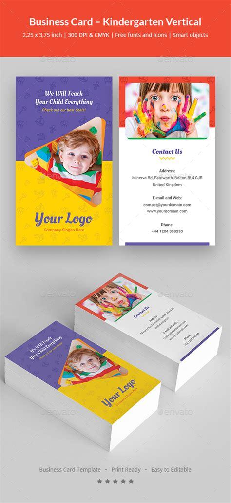 business card templates kindergarten business card kindergarten vertical by artbart