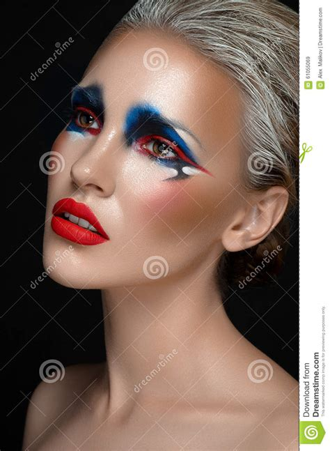 themes girl beautiful makeup art theme beautiful girl with blue and red make up